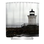 Portland Breakwater Light On A Hazy Day - Maine Shower Curtain