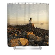 Portland Breakwater Light - Portland Maine Shower Curtain