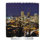 Portland Cityscape And Freeway At Blue Hour Shower Curtain