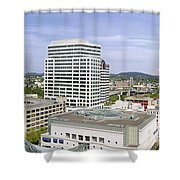 Portland Downtown Cityscape With River And Mountain Shower Curtain
