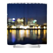 Portland Downtown Out Of Focus City Lights Shower Curtain