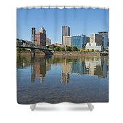 Portland Downtown Skyline And Hawthorne Bridge Shower Curtain