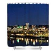 Portland Downtown Skyline At Blue Hour Shower Curtain