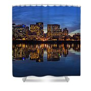 Portland Downtown Skyline At Blue Hour Panorama Shower Curtain