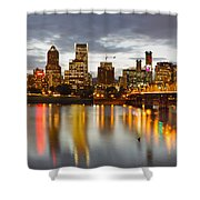 Portland Downtown Skyline At Sunset Shower Curtain