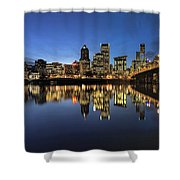 Portland Downtown Skyline By Hawthorne Bridge At Blue Hour Panor Shower Curtain