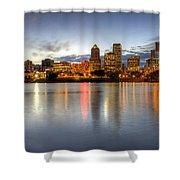 Portland Downtown Skyline Night Panorama 2 Shower Curtain