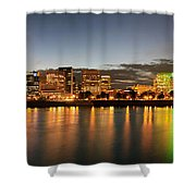 Portland Downtown Skyline Night Panorama Shower Curtain