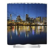 Portland Downtown With Hawthorne Bridge At Blue Hour Shower Curtain