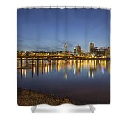Portland Downtown With Hawthorne Bridge At Dusk Shower Curtain