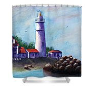 Portland Head In Shade Shower Curtain