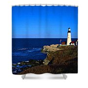Portland Head Light Panoramic View Shower Curtain