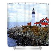 Portland Head Light House In Maine Shower Curtain