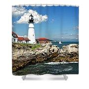 Portland Head Light In Maine Shower Curtain