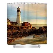 Portland Head Lighthouse At Dawn Shower Curtain