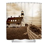 Portland Head Lighthouse In Sepia Shower Curtain