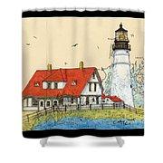 Portland Head Lighthouse Me Nautical Chart Map Art Shower Curtain
