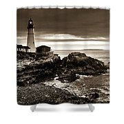 Portland Head Lighthouse Sunrise Shower Curtain
