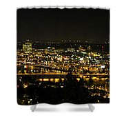 Portland Night Skyline Along Willamette River Panorama Shower Curtain