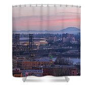 Portland Oregon And Mt St Helens During Sunrise Shower Curtain