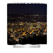 Portland Oregon Downtown Cityscape At Night Shower Curtain