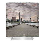 Portland Oregon Downtown Skyline By The Marina At Sunset Shower Curtain