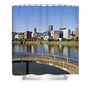 Portland Oregon Downtown Skyline Reflection 4 Shower Curtain