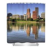 Portland Oregon Downtown Skyline Reflection Shower Curtain