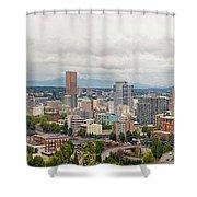 Portland Oregon Downtown View Panorama Shower Curtain