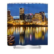 Portland Oregon Downtown Waterfront At Blue Hour Shower Curtain