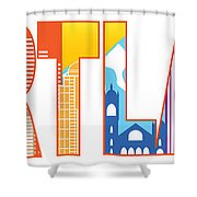 Portland Oregon Skyline Text Outline Color Illustration Shower Curtain