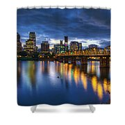 Portland Oregon Waterfront At Blue Hour Shower Curtain