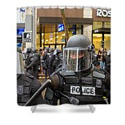 Portland Police In Riot Gear Closeup Shower Curtain