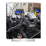 Portland Police In Riot Gear Shower Curtain