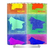 Portland Pop Art Map 3 Shower Curtain