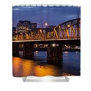 Portland Skyline And Hawthorne Bridge Shower Curtain