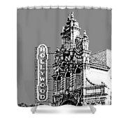 Portland Skyline Hollywood Theater - Pewter Shower Curtain