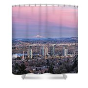 Portland South Waterfront At Sunset Panorama Shower Curtain