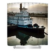Portland Steam Sternwheeler  Tugboat Shower Curtain