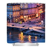 Porto Old Town In Portugal At Dusk Shower Curtain