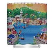 Portofino, Italy, 2012 Acrylic On Canvas Shower Curtain
