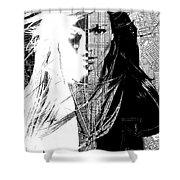 Portrait Art Jennifer Lopez  Shower Curtain