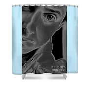 Portrait Figurative Study Piece Of Bobby As Solarised Shower Curtain