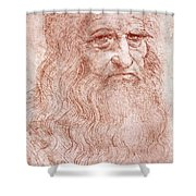 Portrait Of A Bearded Man Shower Curtain by Leonardo da Vinci