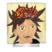 Portrait Of A Boy With A Ball Python On His Head Shower Curtain