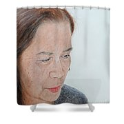 Portrait Of A Filipina In Thought  Shower Curtain by Jim Fitzpatrick
