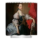Portrait Of A Lady In A Blue Gown Shower Curtain