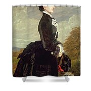 Portrait Of A Lady In Black With A Dog Shower Curtain