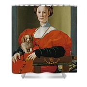 Portrait Of A Lady With A Lapdog Shower Curtain