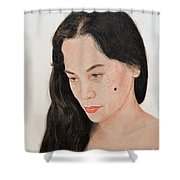 Portrait Of A Long Haired Filipina Beautfy With A Mole On Her Cheek Shower Curtain by Jim Fitzpatrick